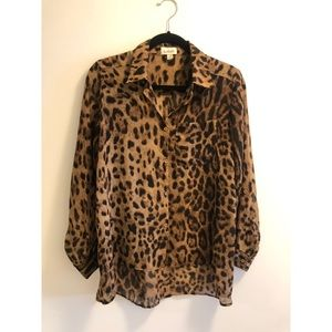 Leopard Button Down Blouse SZ M